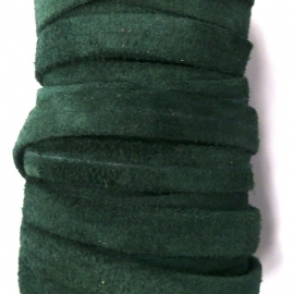DQ platte leerband 10mm breed soft nappa leather 2-sided kleur suede bottle green - 20cm