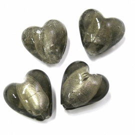 (BJZW020) glaskraal hartvorm silverfoil antraciet/zwart 19mm