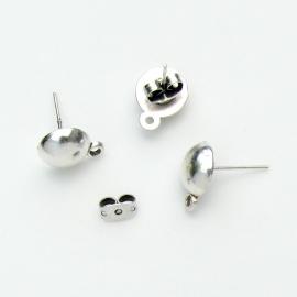 DQ metaal oorbel oorsteker met knopje en oogje per paar (B05-033-AS)