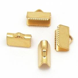 DQ metaal lintklem 10mm goud maat 9.7x7.1mm