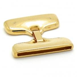 DQ metaal clipsluiting GOUD XXXL voor 40mm breed leer (gat 2,5x40mm) (B07-005-SG)