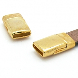 DQ metaal GOLD magneetsluiting voor 10mm breed plat leer - gat 2mmx10mm (B07-002-SG)