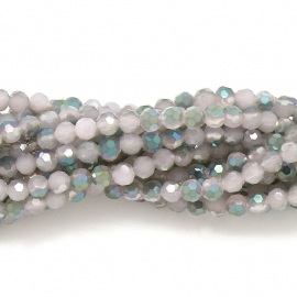glaskraal rond facet 6mm - streng van ongeveer 100 kralen (BGK-002-028) kleur rosewater diamond coating
