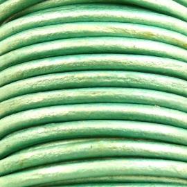 DQ leer 3mm rond (1 meter) kleur metalic turquoise (M18176)