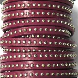 leer 6mm breed gestud leer kleur burgundy red - 20cm