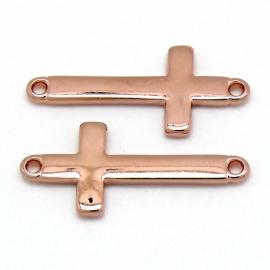 DQ  metaal ROSE GOUD tussenzetsel kruis 16x36  (B03-035-RG)