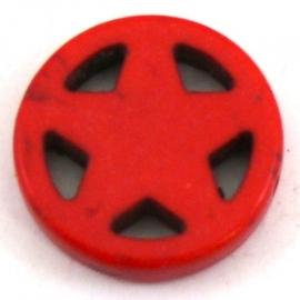 BJ321 keramiek kraal rond 20mm sherrifstar kleur rood