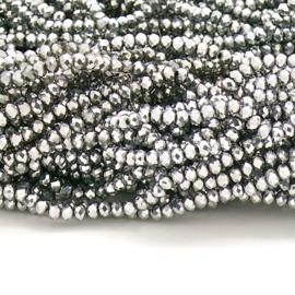 glaskraal rondel facet 2x3mm - circa 148 kralen (BGK-007-008) kleur Full Metalic Silver