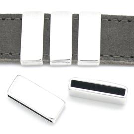 DQ metaal schuifkraal rechthoek voor 20mm breed leer - maat 9.1x22.30mm - gat 2,5x20mm (B04-179-AS)