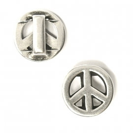 DQ metaal schuifkraal peace voor 10mm breed leer (gat 2,5x10mm) (B04-002-AS)