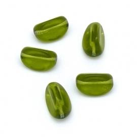 (BJG-035) glaskraal ovaal met 3 zijden 10x17mm kleur olivine groen