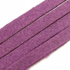 imitatie suede veter 5mm breed 90 cm lang kleur paars (BJ253)