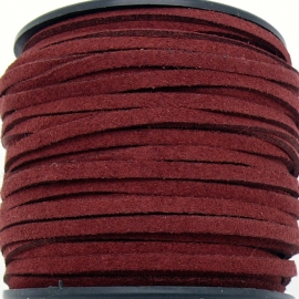 imitatie suede veter 3mm breed - 2m lang - kleur winered (BSL-3-13)