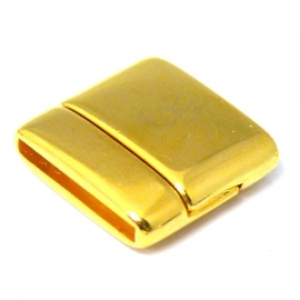 DQ metaal GOLD magneetsluiting voor 20mm breed plat leer, gat 2.5x20mm (B07-003-SG)