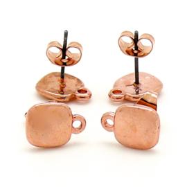 DQ metaal Rose goud oorsteker vierkant met oogje per paar (B05-055-RG)