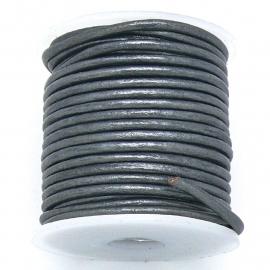 DQ rond leer 2mm - 1 meter - kleur metalic dark silver (BRL-02-28)