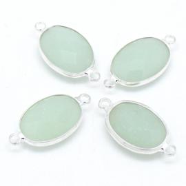 Ovale tussenzetsel met facetgeslepen glassteen met zilveren rand - maat 13x25mm - kleur light green opal