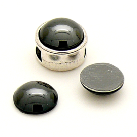 swarovski platte steen bol - 2080 - hotfix - kleur Jet Hematite