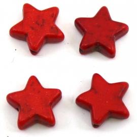BJ333 keramiek kraal ster 15m kleur bordeaux rood