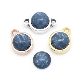 polariscabochon pearl rond 7,2/8mm - kleur  Denim Blue (CAB-07-011)