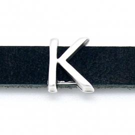 DQ metaal schuifkraal voor 10mm breed leer - letter K- maat 11x14mm - gat 2,5x10mm (B04-078-AS)