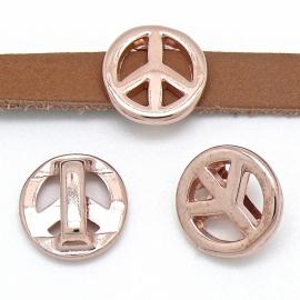 DQ metaal ROSE GOLD schuifkraal peace voor 10mm breed leer (B04-002-RG)