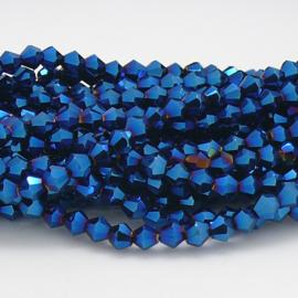 glaskraal bicone 4mm - circa 110  kralen (BGK-008-037) kleur Metalic Blue