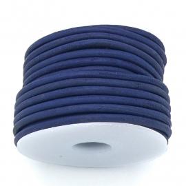 DQ rond leer 3mm - 1 meter - kleur vintage dark blue (BRL-03-31)