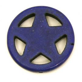 BJ351 keramiek kraal rond 25mm sherrifstar kleur donkerblauw