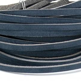 DQ leren band smal 5mm - 2,2 dik circa 100cm lang - kleur buffel navy blauw (PL05-004)