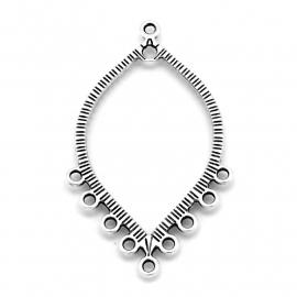 DQ metaal oorbelhanger bladvorm met 9 ringen 27x45mm (B05-037-AS)