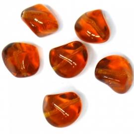 (BJBR-007) glaskraal nugget bruin 13x15mm