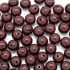 (BJBR-033) glaskraal rond 8mm opaque cacoa-donkerbruin  - 10 stuks