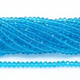glaskraal rondel facet 6x8mm - streng van ongeveer 72 kralen (BGK-006-002) kleur Aqua