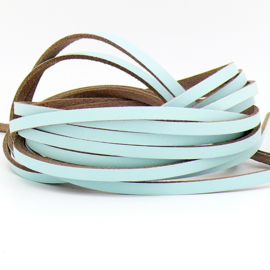 DQ leren band smal 5mm - 2,1 dik circa 100cm lang - kleur trend Lovely Blue (PL05-039)