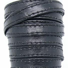 DQ platte leerband 10mm breed soft nappa leather 2-sided - dubbelgestikt - kleur black - 20cm