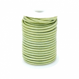 DQ rond leer 3mm - 1 meter - kleur LIGHT GREEN (no. 03/15)