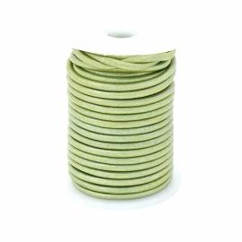 DQ rond leer 1,5mm - 1 meter - kleur METALIC LIGHT GREEN  (BRL-01-15)