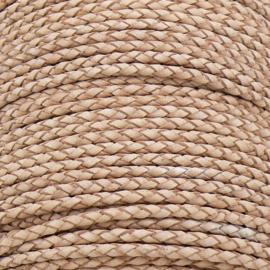 DQ 3mm rondgevlochten soft leather- kleur natural - 20cm (BRGL-3-16)