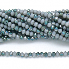 glaskraal rondel facet 3x4mm - circa 148  kralen (BGK-004-026) kleur opal grey diamond coating