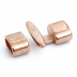 DQ metaal ROSE GOUD haakslot voor 5mm rondgevlochten leer maat slot 22mm (B07-020-RG)