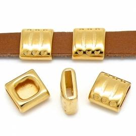 DQ metaal GOUD schuifkraal vierkant met strepen voor 10mm plat leer (B04-014-SG)