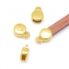 DQ metaal GOUD eindkap 7x11mm voor 5mm plat leer (gat 2x5mm) (B06-028-SG)
