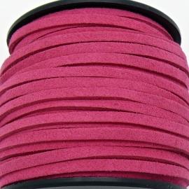 imitatie suede veter 3mm breed - 2m lang - kleur fuchsia (BSL-3-18)