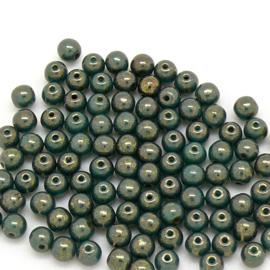 PB4-LG63130 Tsjechisch ronde glaskraal 4mm - kleur Bronze Picasso- 100 stuks