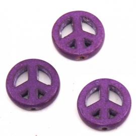 BJ342 keramiek kraal peace 15mm kleur paars