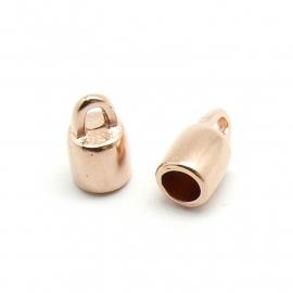 DQ metaal ROSE GOUD eindkap voor 5mm rond leer (gat 5mm) (B06-020-RG)