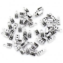 DQ metaal veterklem voor koord 1,5/2mm maat 3x8mm (B05-049-AS) - 5 stuks