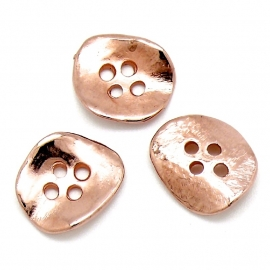 DQ metaal ROSE GOUD kraal knoop golvend hamerslag maat 16x18mm 4 gaten (B01-057-RG)