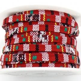 AZTEC Cord 5mm breed kleur multi rood - 20cm (BAK-5-03) LET OP: GEEN LEER!